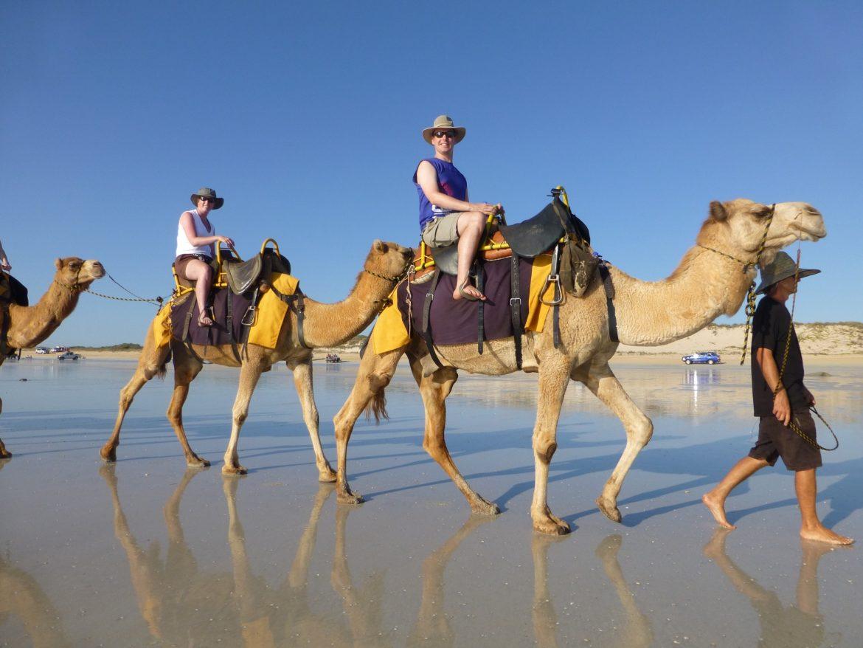 Ruud en Marlon op een kameel
